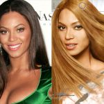 Candid photograph of Beyonce (left); Beyonce airbrushed in a Loreal ad (right); juxtaposition by Feministing.