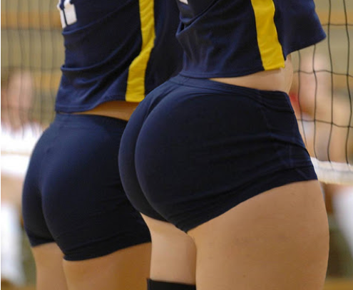 Volleyball girls ass touch