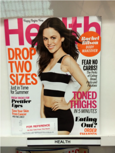 "I was disturbed to find this ""Health"" magazine in the library while researching sound information about taking care of our bodies. Note the slogan above the title: ""Happy Begins Here."""