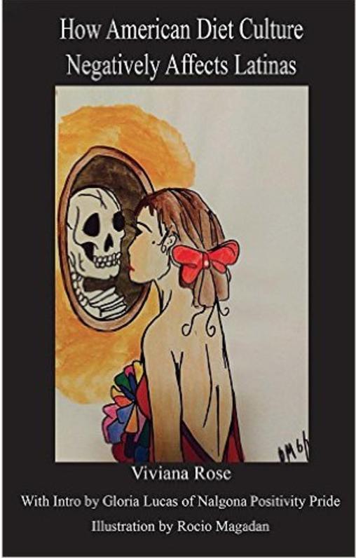 drawing of girl looking at skeleton in mirror