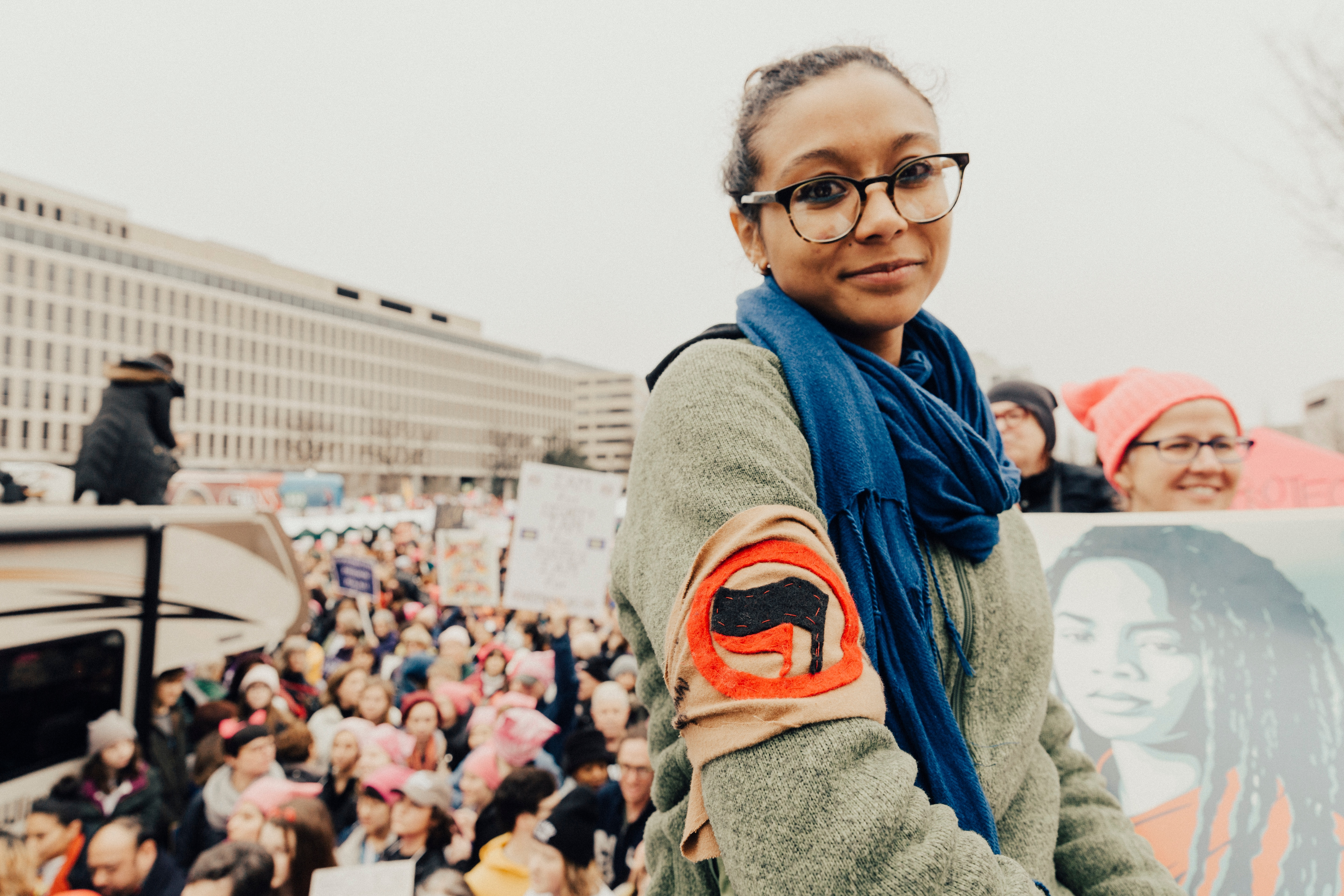 Young woman at Women's March