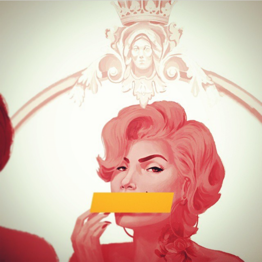 graphic of marilyn monroe with strip covering her mouth