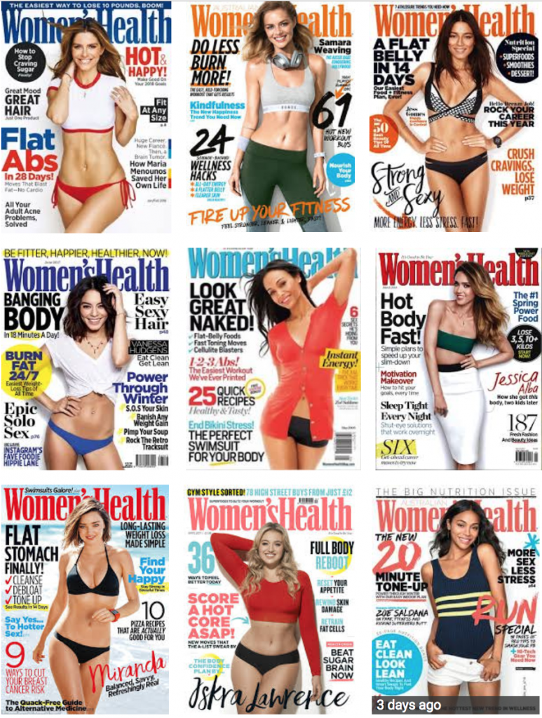 A set of women's health magazines