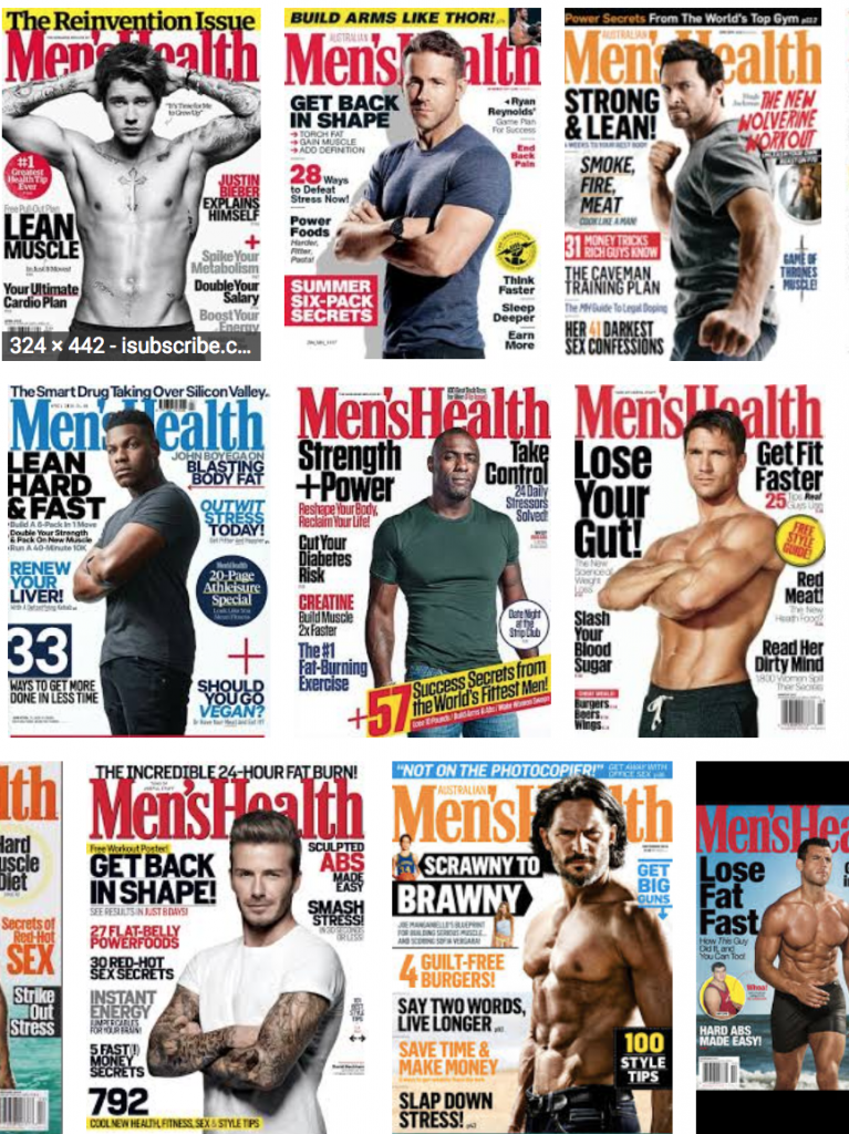 Group of Men's Health magazine covers
